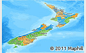 Political Panoramic Map of New Zealand, semi-desaturated, land only