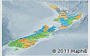 Political Panoramic Map of New Zealand, semi-desaturated