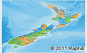 Political Panoramic Map of New Zealand, shaded relief outside, bathymetry sea