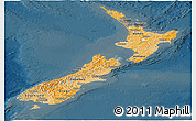 Political Shades Panoramic Map of New Zealand, darken