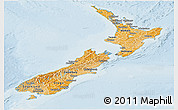 Political Shades Panoramic Map of New Zealand, lighten