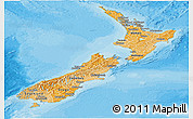 Political Shades Panoramic Map of New Zealand