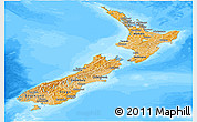 Political Shades Panoramic Map of New Zealand, semi-desaturated, land only