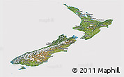 Satellite Panoramic Map of New Zealand, cropped outside