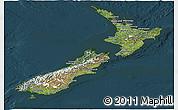 Satellite Panoramic Map of New Zealand, darken