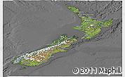 Satellite Panoramic Map of New Zealand, desaturated