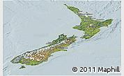 Satellite Panoramic Map of New Zealand, lighten