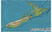 Satellite Panoramic Map of New Zealand, political shades outside, satellite sea
