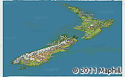 Satellite Panoramic Map of New Zealand, semi-desaturated, land only