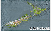Satellite Panoramic Map of New Zealand, semi-desaturated