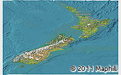 Satellite Panoramic Map of New Zealand, single color outside