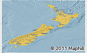 Savanna Style Panoramic Map of New Zealand, single color outside