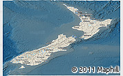 Shaded Relief Panoramic Map of New Zealand, darken