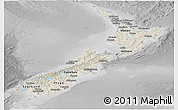 Shaded Relief Panoramic Map of New Zealand, desaturated