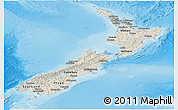 Shaded Relief Panoramic Map of New Zealand, political outside, shaded relief sea