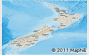 Shaded Relief Panoramic Map of New Zealand, political shades outside, shaded relief sea