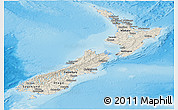 Shaded Relief Panoramic Map of New Zealand, semi-desaturated, land only