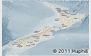 Shaded Relief Panoramic Map of New Zealand, semi-desaturated