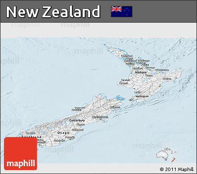 Silver Style Panoramic Map of New Zealand