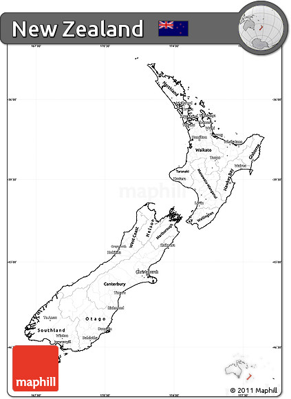 photo regarding New Zealand Map Printable identified as Absolutely free Blank Basic Map of Fresh Zealand