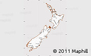 Classic Style Simple Map of New Zealand, cropped outside