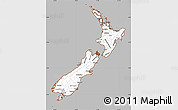 Gray Simple Map of New Zealand, cropped outside