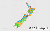 Political Simple Map of New Zealand, cropped outside