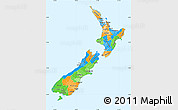 Political Simple Map of New Zealand, political shades outside