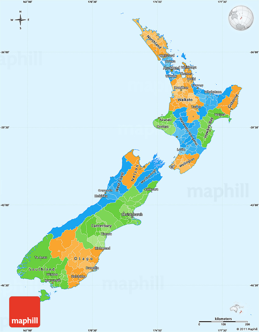 Political Map Of New Zealand.Political Simple Map Of New Zealand