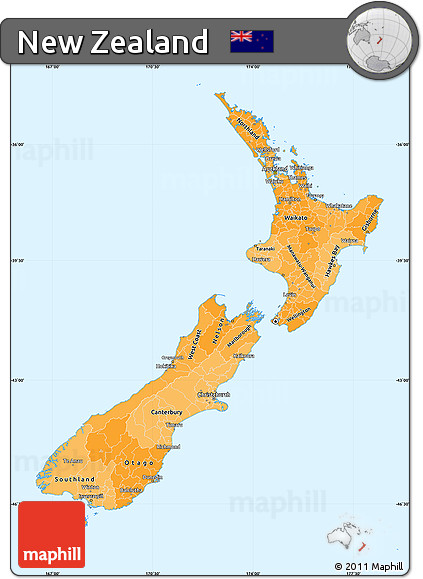 Political Shades Simple Map of New Zealand