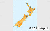 Political Shades Simple Map of New Zealand, political outside