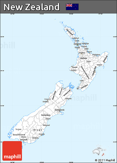 Silver Style Simple Map of New Zealand