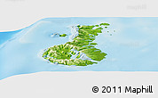 Physical Panoramic Map of Auckland islands