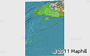 Political Shades Panoramic Map of Southland, satellite outside