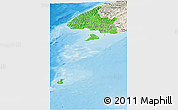 Political Shades Panoramic Map of Southland, shaded relief outside