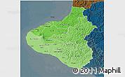 Political Shades 3D Map of Taranaki, darken