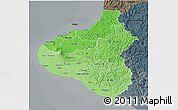 Political Shades 3D Map of Taranaki, darken, semi-desaturated