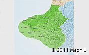 Political Shades 3D Map of Taranaki, lighten