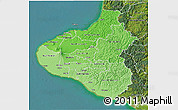 Political Shades 3D Map of Taranaki, satellite outside