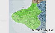 Political Shades 3D Map of Taranaki, semi-desaturated