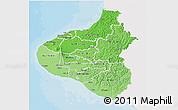 Political Shades 3D Map of Taranaki, single color outside