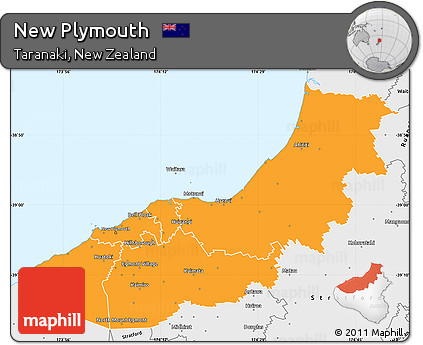 Free Political Simple Map of New Plymouth single color outside