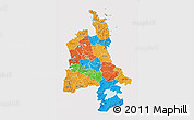 Political 3D Map of Waikato, cropped outside