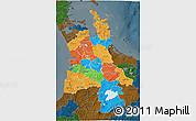 Political 3D Map of Waikato, darken