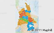 Political 3D Map of Waikato, lighten