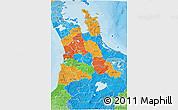 Political 3D Map of Waikato, political shades outside