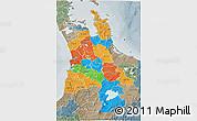 Political 3D Map of Waikato, semi-desaturated