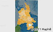 Political Shades 3D Map of Waikato, darken