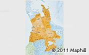 Political Shades 3D Map of Waikato, lighten