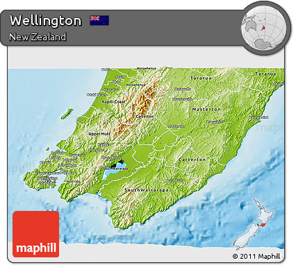 Geographical Map Of New Zealand.Free Physical 3d Map Of Wellington